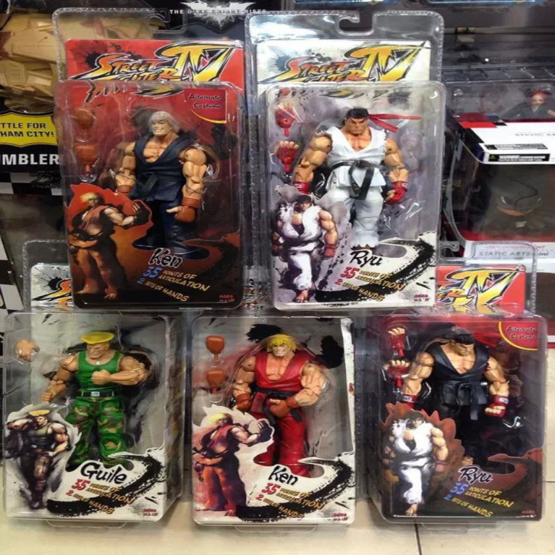 """1pcs 5 styles 7"""" 18CM Street Fighter IV Survival Model Ken Ryu Guile Action Figure Toy Free Shipping"""