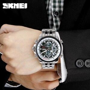 Image 5 - SKMEI גברים ספורט שעונים Led אנלוגי דיגיטלי שעוני יד עמיד למים נירוסטה שעון אופנה מזדמן Mens הצבאי קוורץ שעון