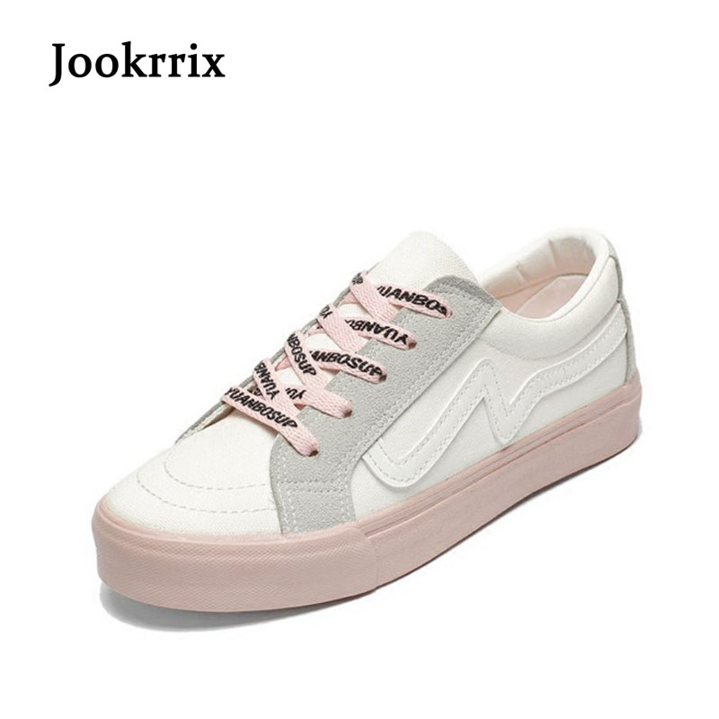 Jookrrix 2018 Spring Fashion Brand Lady Casual White Shoes Women Sneaker Leisure Vulcanized Shoes Canvas Casual Shoes Cross-tied