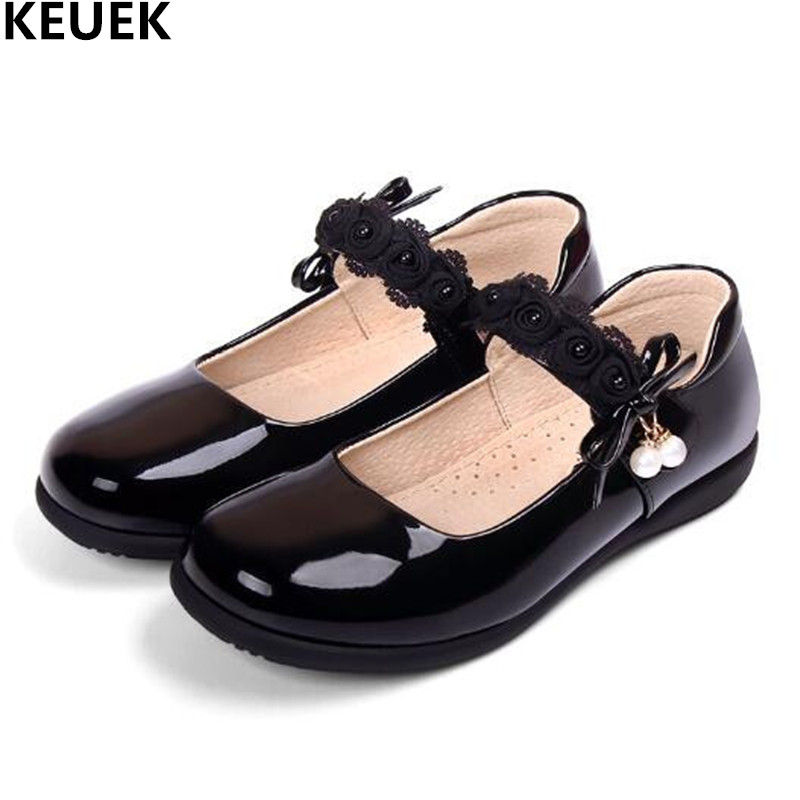 New Girls Leather Shoes Black Children Party Dance Shoes Princess Flats Comfortable Toddler Kids Shoes Baby Student Dress 019 kids glitter sandals elegant princess dance wedding dance party leather shoes heel student