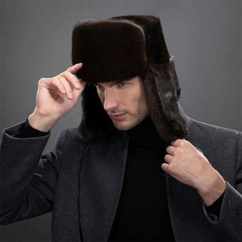IANLAN Fashion Mens Import Full pelt Mink Fur Bomber Hats Winter Windproof Earmuffs  Hats Solid Russian Style Hat Cap IL00245-in Bomber Hats from Apparel ... 015686617901