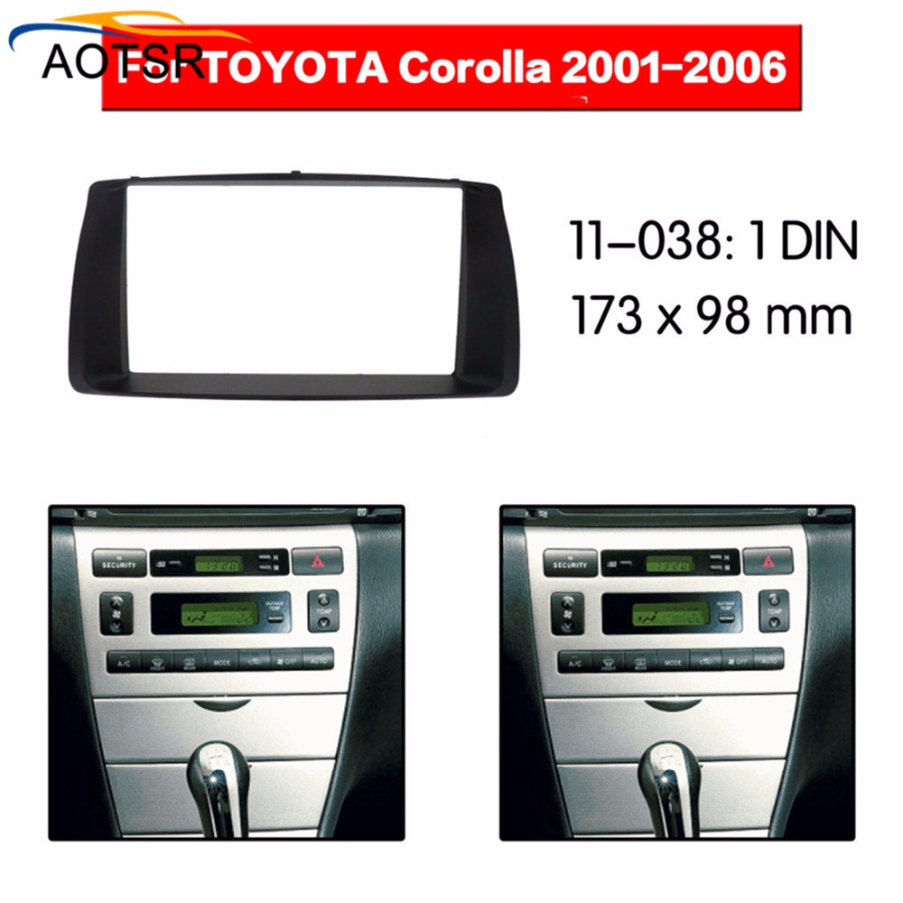 <font><b>Radio</b></font> Facia FOR <font><b>Toyota</b></font> <font><b>Corolla</b></font> 2001 2002 2003 2004 <font><b>2005</b></font> 2006 2 Din Fascia Car Stereo <font><b>Radio</b></font> Installtion Dash image