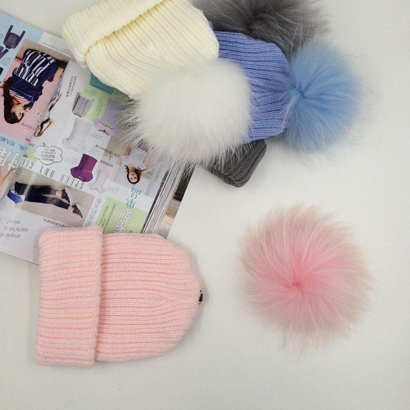 купить Kids Pom Pom Beanie Winter Warm Knitted Bobble Baby Fur Pompom Hat Children Faux Raccoon Fur Pompon Cotton Hat Cap NO дешево