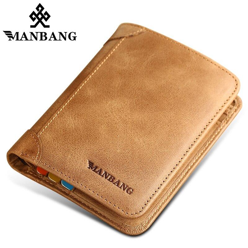 Manbang Vintage Men Wallets Genuine Leather Slim Bifold Cowhide Purse Brand Wallet Card Holder стоимость
