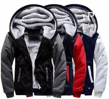 Dropshipping USA Size Men Women Unisex Hoodies Zipper Sweatshirts Jacket Winter Warmth Thicken Hooded Coat