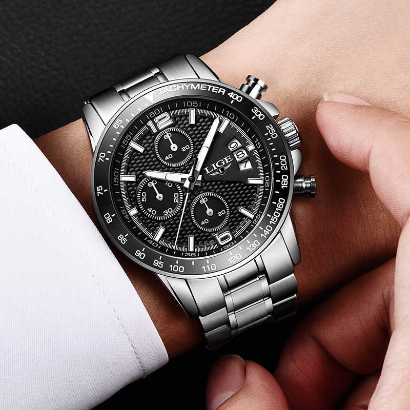 2018 שעון גברים ליגע Mens שעונים למעלה מותג יוקרה מלא פלדה עסקי קוורץ מזדמן עמיד למים ספורט שעון Relogio Masculino + תיבה