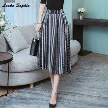 1pcs Hight waist skirts Womens A-line 2019 Autumn Fashion Chiffon prints Splicing stripe Black skirt Ladies Casual