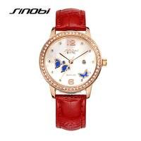 Sinobi bayanlar lüks paslanmaz çelik bilek kuvars-izle kadınlar moda deri elmas saatı kadın butterfly saatler f96
