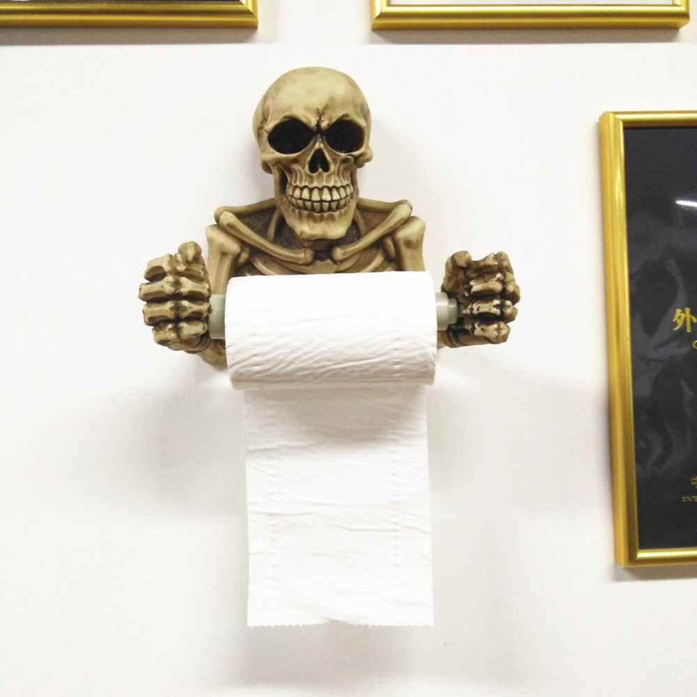 Tissue Holder Novelty Skull Shape Wall Hanging Kitchen Bathroom Toilet Roll Paper Towel Rack Plastic Holder Home Supplies