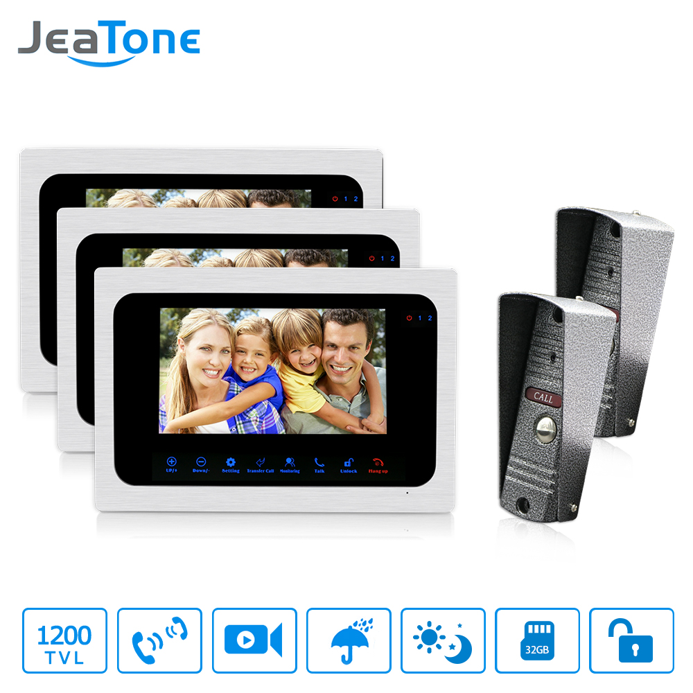 JeaTone 7 LCD TFT Color Video Door Phone Doorbell 2 to 3 Intercom System with IR Night Vision for Villa Home Take Photo hot sale tft monitor lcd color 7 inch video door phone doorbell home security door intercom with night vision