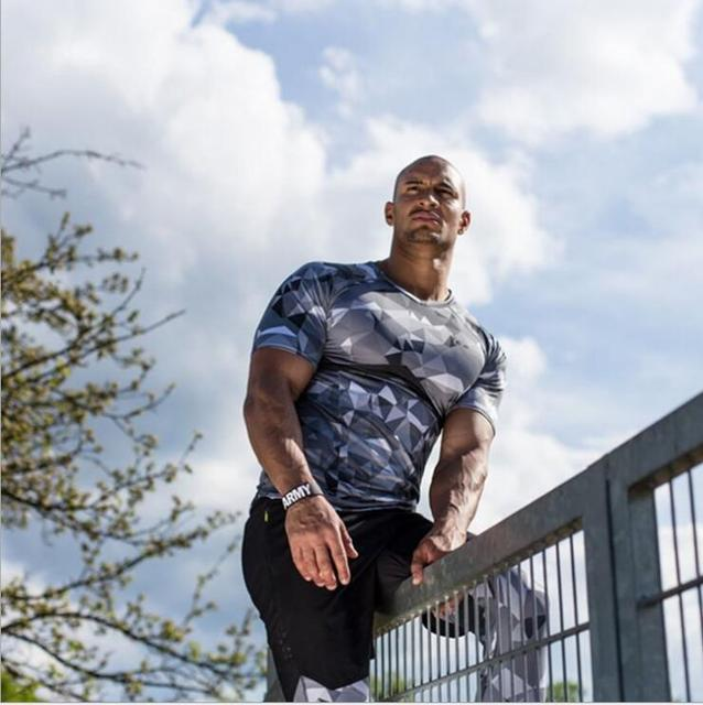 2017 MEN T-SHIRT performance fit size M-XXL ploygon grey O-Neck short-sleevefitness functional wear quick-drying