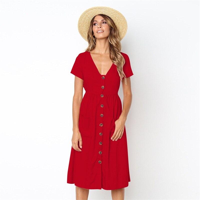 Women's Cotton and Linen Dress Fashion Summer Elegant Dresses Short Sleeve V Neck Button Decorative Swing Midi Dress with Pocket