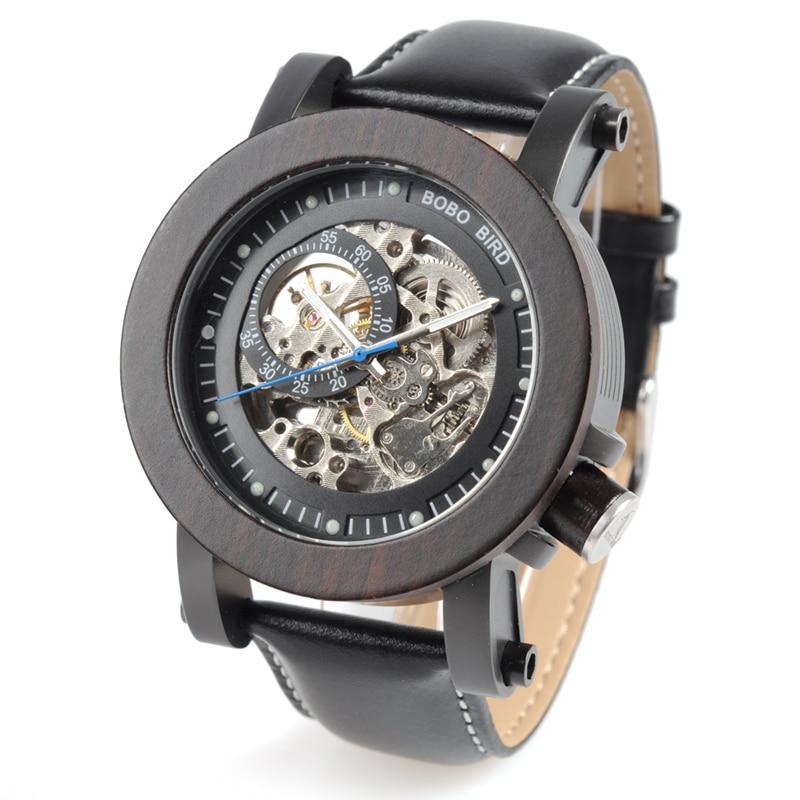 Luxury Brand BOBO BIRD Gear Men Watch Wooden Mechanical Watches Genuine Leather Strap Wristwatch relogios homem
