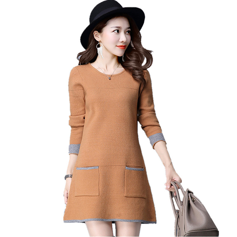 Women Autumn Winter Knitted Dresses Long Sleeve O-Neck Sweater Dress Female Casual Plus Size Bodycon Dress Vestidos Five colors knitted pockets women sweater mini dress v neck long sleeve dresses autumn winter 2018 loose robe femme plus size gv063