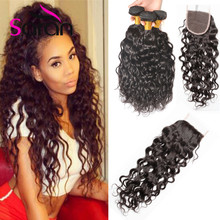 Wet And Wavy Human Hair With Closure Stema Hair With Closure Cheap Natural Wave With Closure Water Wave Virgin Hair With Closure