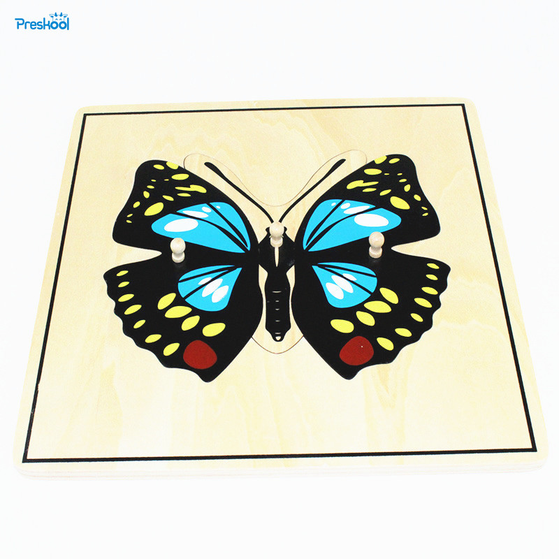 Baby Toy Kids Montessori Butterfly Puzzle Animal for Children Wood for Early...