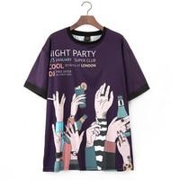 Harajuku T Shirt Women Casual Fashion Summer Crop Top Print Hand Painted t shirt loose tshirt female tops O Neck Purple tees
