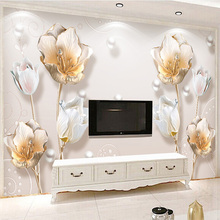 European Style Luxury Wallpaper 3D Embossed Tulip Jewelry Flowers Photo Wall Mural Living Room TV Sofa Background Wall Paintings