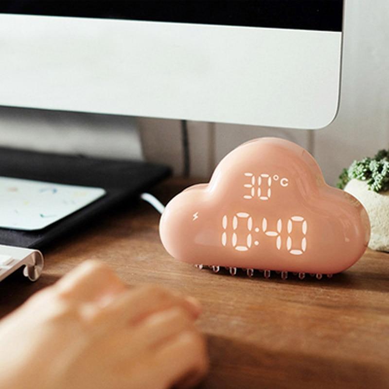 Ultra-silenzioso Intelligente Snooze Nuvole Sveglia Suoni di Controllo Display A LED Interfaccia USB Orologio Creativo Decorazione Della CasaUltra-silenzioso Intelligente Snooze Nuvole Sveglia Suoni di Controllo Display A LED Interfaccia USB Orologio Creativo Decorazione Della Casa