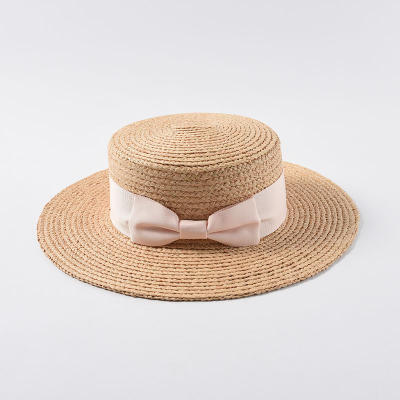 Image 2 - 2019 New Tea Party Hat Classic Bow Raffia Hats Women Girls Flat Sun Hat Chinese Straw Hat Summer Cap Dropshipping Wholesale-in Women's Sun Hats from Apparel Accessories