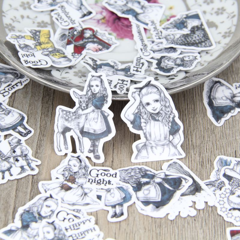 все цены на  40pcs Self-made Alice in Wonderland Scrapbooking Stickers Decorative Sticker DIY Craft Photo Albums Decals Diary Deco  в интернете