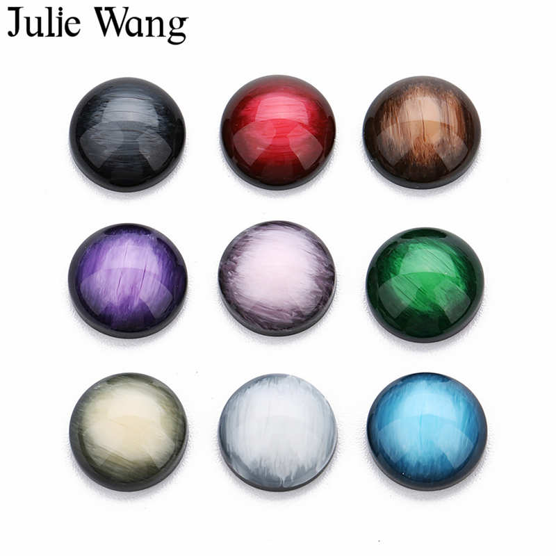 Julie Wang 10PCS 12mm Resin Round Cabochon Multi-color Flat Back Cameo Necklace Earrings Bracelet Jewelry Making Accessory image