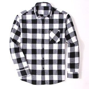 Image 4 - Мужская Фланелевая рубашка в клетку, приталенная Повседневная рубашка из 100% хлопка с длинными рукавами, размеры 4XL, 5XL, 6XL, весна осень
