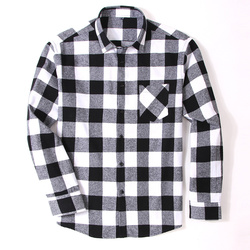 100% Cotton Flannel Men's Plaid Shirt Slim Fit Spring Autumn Male Brand Casual Long Sleeved Shirts Soft Comfortable 4XL 4
