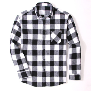 Image 4 - 100% Cotton Flannel Mens Plaid Shirt Slim Fit Spring Autumn Male Brand Casual Long Sleeved Shirts Soft Comfortable 4XL 5XL 6XL