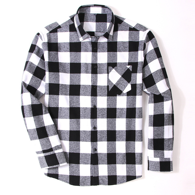 Men Slim Fit Long Sleeve Plaid Shirt