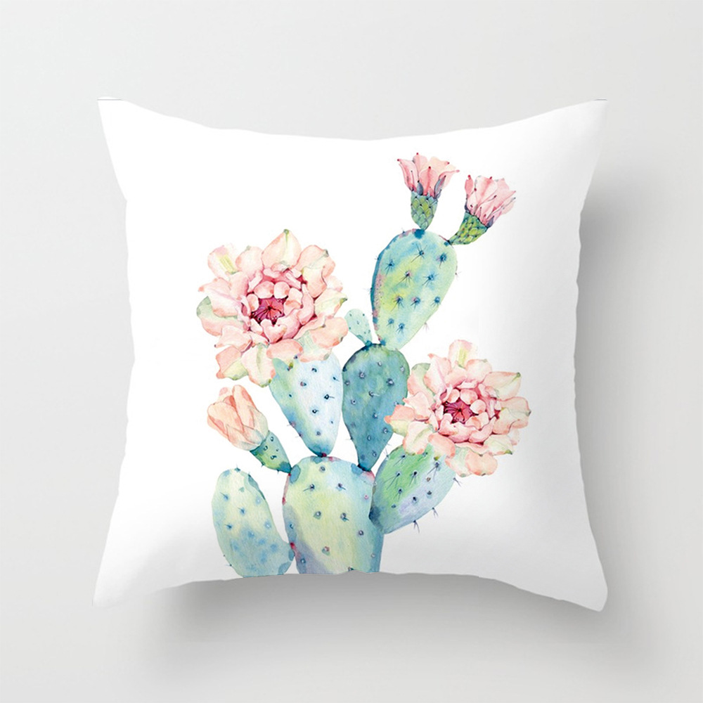 2pcs Plants Florals Daisy Cactus Cushion Cover Cotton Linen Home Decorative Pillow Cover for Sofa Cojines Facotory Supply Direct
