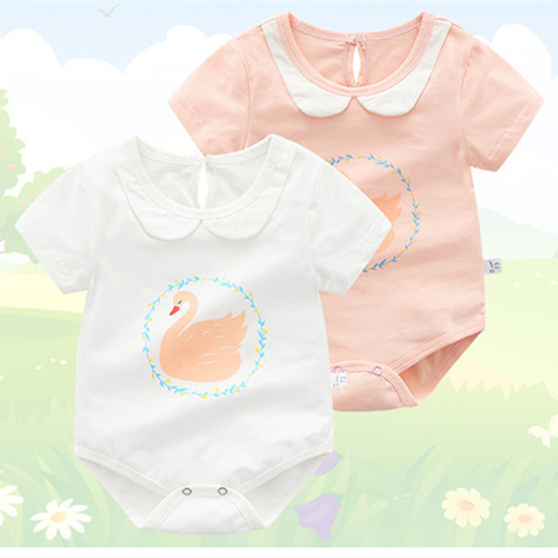 baby meisje rompertjes zomer katoen zwaan print Casual peuter romper - Babykleding - Foto 5