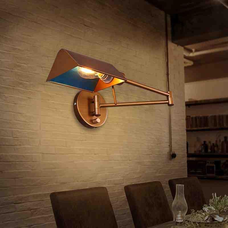 ФОТО Simple modern American retro rocker arm folding wall bedroom bedside lamp wall lamp industrial wind study