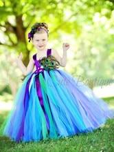 Детская Одежда 6-8 год Девушки Производительность Одежда Рождения Красивый Павлин Перо Личность Платье С Головной Убор