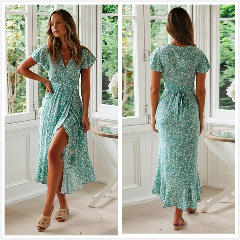2019 Summer New Women Floral Print Ruffled Sashes Dress Sexy V-Neck Irregular Maxi Long Dress Plus Size Women Vestidos Verano Платье
