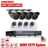 Security Camera System CCTV 8CH 960H Network DVR Kit 1200TVL CCTV Outdoor SONY CCD Sesnor Bullet