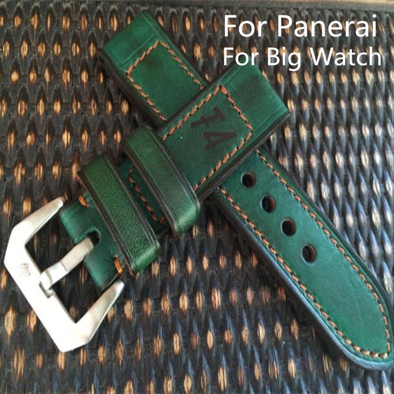 AAA Quality 24MM 26MM Handmade Green Calfskin Leather Watch Strap Bracelet, Retro Leather Watchbands Belt For Pam And Big Watch imported calfskin leather watch strap