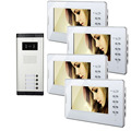 Chuangkesafe  Apartment 4 Units Wired Video Door Phone Audio Visual Entry Intercom System 1V4