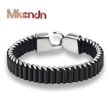 MKENDN Wholesale 2017 New Fashion fine jewelry tide men leather titanium steel bracelets male Vintage bracelet personality gifts