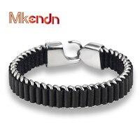 MKENDN Wholesale 2017 New Fashion Fine Jewelry Tide Men Leather Titanium Steel Bracelets Male Vintage Bracelet