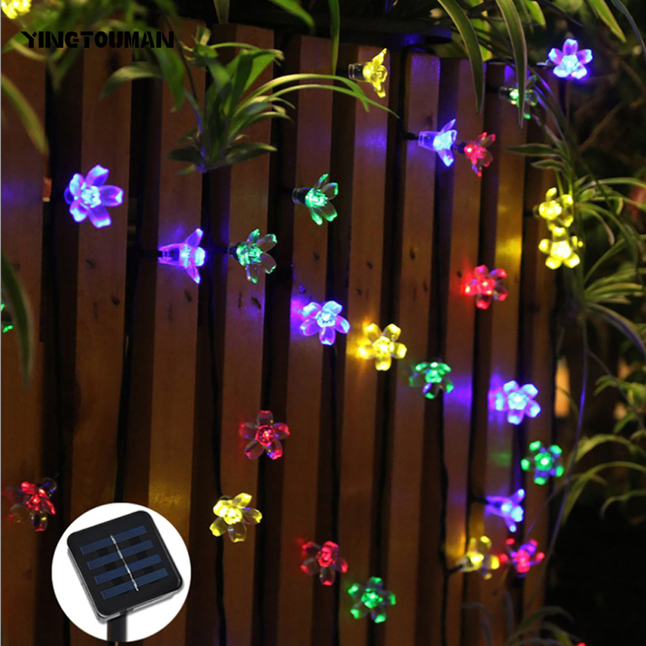 YINGTOUMAN 7m 50 LED Solar Christmas Lights Waterproof Water Drop Solar Fairy String Lights For Outdoor Garden Party Lamp ...
