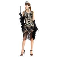 Women 1920 s Vintage Great Gatsby Dress Sequins Dress V Neck Tassels Bodycon Beaded Party Dress Flapper Dresses Art Deco Double