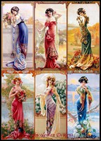 Needlework for embroidery DIY French DMC High Quality Counted Cross Stitch Kits 14 ct Oil painting Six Ladies