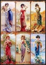 Handwerken voor borduurwerk DIY Franse DMC Hoge Kwaliteit Geteld Borduurpakketten 14 ct olieverf Zes Dames