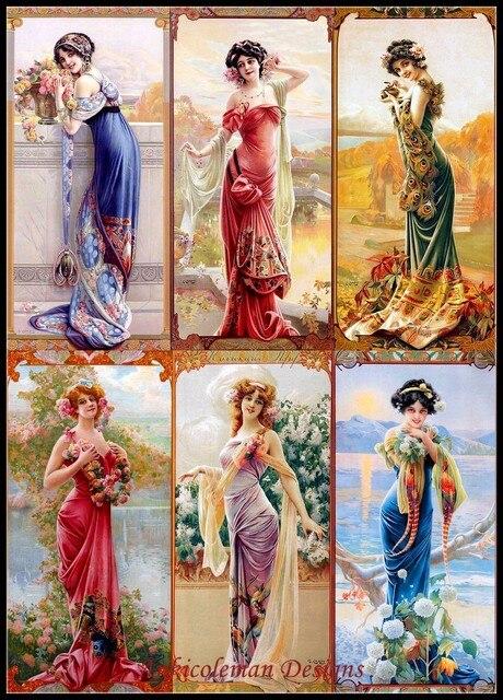 Kit de haute qualité pour broderie, DMC, couture de point de croix, peinture à lhuile 14 ct, à bricolage soi même, Six dames