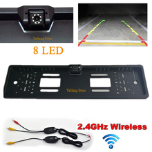 цена на Wireless night vision Rearview Car Camera Wide Angle auto Parking CCD Waterproof EU license plate 8led rear camera license plate