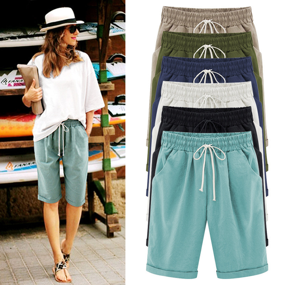 Linen Shorts Trousers Oversized Drawstring Plus-Size Cotton Women Summer Casual Ladies title=