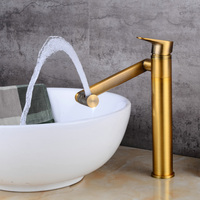 BECOLA Hot And Cold Water Basin Faucets Single Handle Bathroom Faucet Antique Brass 360 Degree Swivel