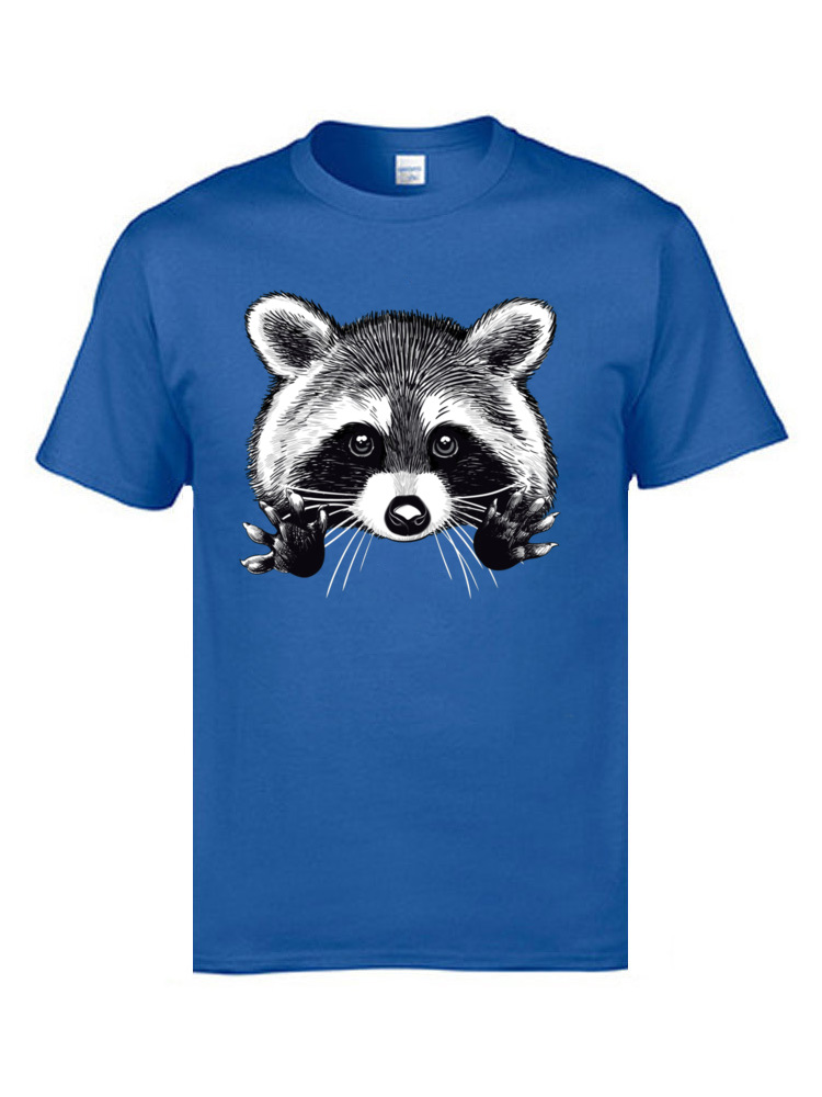 Little Dork Raccoon Mens Custom Tops Shirt Pure Cotton Short Sleeve Birthday Tops & Tees O-Neck Blue T Shirt 3D Digital Print