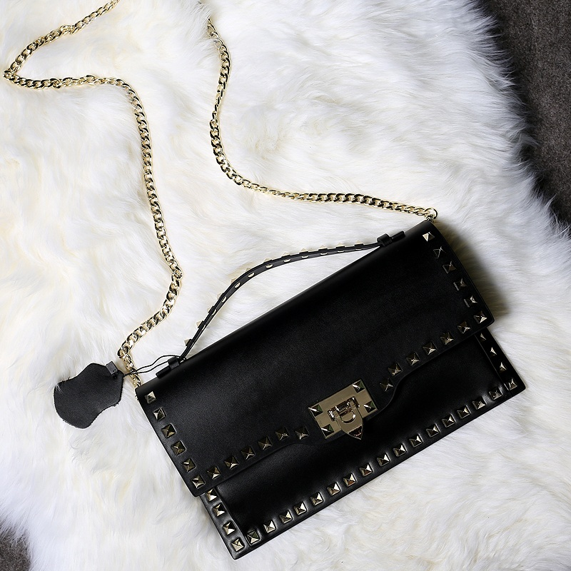 29cm women Genuine leather Chains bag punk style rivet shoulder bag valenti cow leather crossbody bag Sac A main purse Bolso bag punk style butterfly chains choker